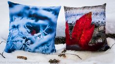 """My Lapland-themed Throw pillows from Society6. 20""""x20"""" Eurasian Bullfinch (pillow insert) & 18""""x18"""" Ice And Leaves (pillow insert) more products at society6.com/pauliturpeenniemi"""
