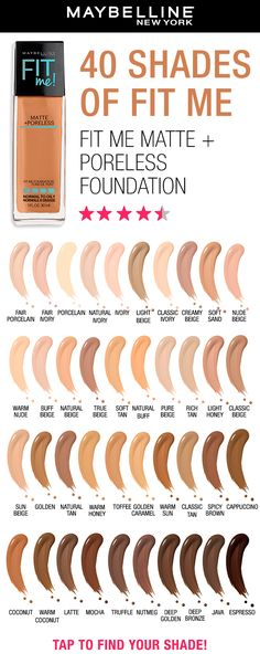 Maybelline's Fit Me Matte + Poreless Foundation is a lightweight foundation that mattifies and refines pores for a natural-looking finish. Perfect for the summer and ideal for normal to oily skin. Plus, Fit Me is available in 40 shades! Tap to find your shade using the virtual try-on tool!