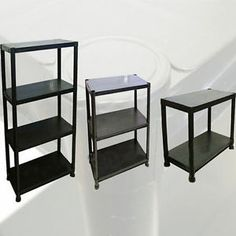 New 4 Tier Black Plastic Shelves Shelving Garage Shelf Work Storage Unit Shelfs