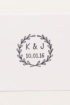 Simple wedding initials and date stamp - Wedding wreath stamp for diy stationery, cards, thank you cards, paper goods - Gift for couple