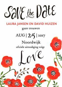 Een elegante uitnodiging om je huwelijks datum aan te kondigen. Save the Date!   Maak je eerste kaart gratis op www.kaartje2go.nl