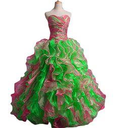 8c295112b1 Dydsz Women s Sweetheart Beaded Long Prom Quinceanera Dresses Party Gown  Ruffled D232 Pinkgreen 2