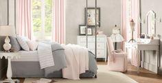 Jugendzimmer mädchen modern weiß grau  Hübsches Mädchen-Schlafzimmer in Weiß, Grau und Rosa. Wir lieben ...