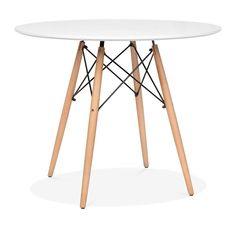 Charles Eames White DSW Dining Round Table - Diameter 90cm