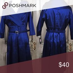 """40's Flare Midnight Blue Dress This dress has a great 40's flare to it with cross over front at Bust, empire waist, pleating at skirt, 3/4 sleeves embellished with flower and back zip bust lined NWT. Size 4 Bust 37"""" Waist 30"""" Hip 41"""" Length 41"""" Shell 61% Polyester 34% Nylon 5% Spandex Lining 200% Polyester Dry Clean Only. Jessica Howard Dresses Midi"""