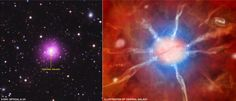 Left, a composite image of the Phoenix Cluster. Right, artist concept of its central galaxy. From NASA.