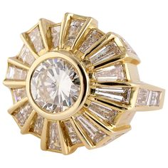 Bulgari Diamond Gold Cocktail Ring | See more rare vintage Cocktail Rings at http://www.1stdibs.com/jewelry/rings/cocktail-rings
