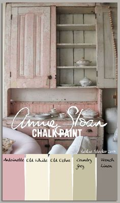 In the Pink - Paleta de colores de pintura Shabby Chic - Colorways con Leslie Stocker Paint Color Palettes, Chalk Paint Colors, Chalk Paint Color Combinations, Pink Chalk, Chalk Painting, Painting Canvas, Shabby Chic Bedrooms, Shabby Chic Furniture, Glamorous Bedrooms