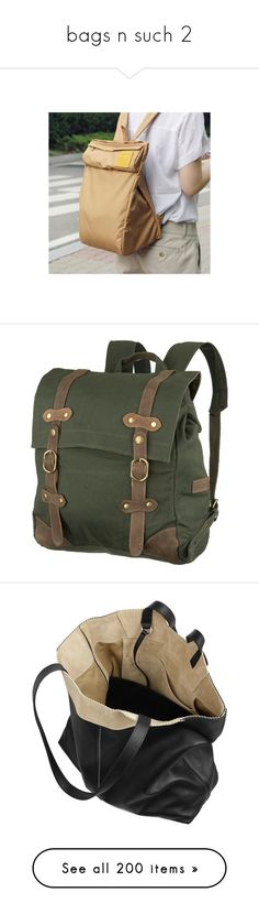 """""""bags n such 2"""" by dattebyeno ❤ liked on Polyvore featuring photos, bags, backpacks, accessories, purses, bolsas, green backpack, green bags, rucksack bags and vintage style backpacks"""
