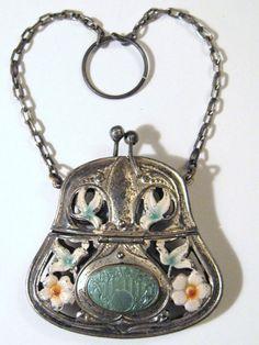 EDWARDIAN 1900s Antique Silver Repousse Chatelaine Purse by CovetedCastoffs