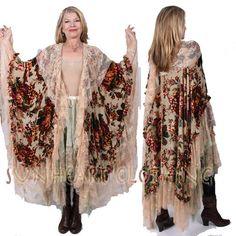 SunHeart Goddess Clothing Shabby chic Edwardian Baroque Burn Out VELVET LACE Ruana Shawl. $250.00, via Etsy.