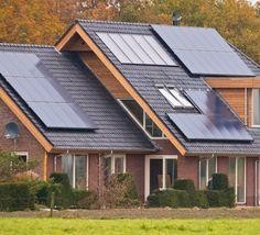 Photovoltaic solar panels on a newly built modern house