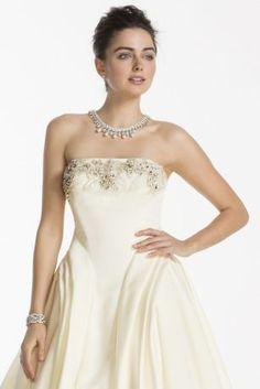 Oleg Cassini Satin Wedding Dress with Beading CWG702 Vestido De Casamento 7ad72490724
