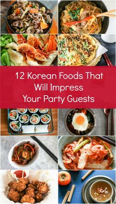 15 Korean Foods That Will Impress Your Party Guests Introducing 12 Korean foods that will impress your party guests. These include Korean BBQ, Bibimbap, Japchae, Kimbap and so much more! Asian Recipes, Healthy Recipes, Ethnic Recipes, Easy Korean Recipes, Asian Foods, Mezze, Korean Kitchen, K Food, Vegan Food