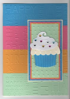 Hand made birthday card using card die and happy birthday embossing folder