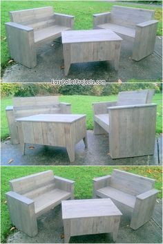 Marvelous wood furniture set. This is delightfully structured with old material of pallets sheets and composed of two couches and table. This phenomenal creation is something in excess of a seating place. As we have aesthetically keep the original color of woods secure. So simply make it a piece of your outdoors by structuring it all alone.