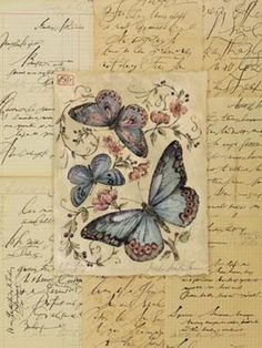 Vintage butterflys and flowers in handwriting frame