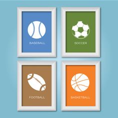 5x7 Set of 4 Kids Room Sports Collection / Sports Decor / Children Wall Art / Baby Shower Gift / Sports Prints
