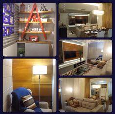 Sala de TV e sacada de apartamento. Paula Pereira Arquitetura.
