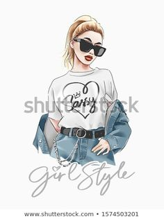 girl style slogan with fashion girl in sunglasses illustration Stock fénykép 1574503201 Shutterstock Girl With Sunglasses, Summer Sunglasses, Royalty Free Images, Royalty Free Stock Photos, Graphic Tees, Graphic Sweatshirt, Find Girls, Ana White, Nail Arts