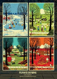 Chris Thornley Peanuts Seasons Posters Release From Dark Hall Mansion Charlie Brown Cafe, Charlie Brown Christmas, Charlie Brown And Snoopy, Peanuts Cartoon, Peanuts Snoopy, Snoopy Und Woodstock, Charlie Brown Characters, Seasons Posters, Snoopy Pictures