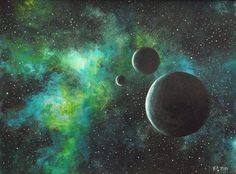 Original painting, art, acrylic, space, green, black, moon, galaxy, acrylic painting, contemporary art, abstract landscape, MADE TO ORDER