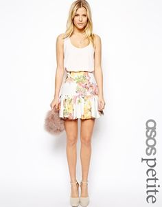 Image 1 ofASOS PETITE Exclusive Textured Print Peplum Hem Skirt