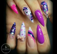 cool How cute My little Pony nail art.....