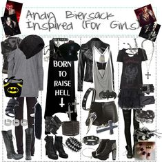 """""""Andy Biersack Inspired (For Girls)"""" by xxxbloodyrosexxx ❤ liked on Polyvore"""