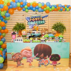 Fiesta Tematica Mini Beat P ower Rockers Baby Beat, Rocket Power, Baby Rocker, Ideas Para Fiestas, Childrens Party, Baby Birthday, Birthday Party Decorations, Balloons, Baby Shower
