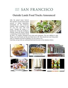 News of Outside Lands Food Trucks shared in the Huffington Post