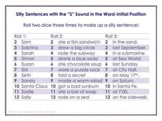 """Free """"Silly Sentences"""" Artic Games!  Roll two dice 3 times to pick 3 parts of a sentence, all containing target sound!  So far I have done /s/, /k/, vocalic /r/."""
