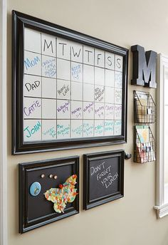 We created a message board with chalkboard paint, magnetic primer and dry erase paint. It's a fun DIY project that will help keep your family organized.
