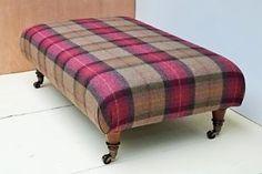 New Large Footstool in 100% Wool Tartan Tweed. 21 FABRICS TO CHOOSE FROM!!!!   eBay