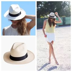 "J.Crew Panama Hat Great condition, worn just a couple times.  Cream with thick black ribbon trim.  I measured the inside and it's a tiny bit over 21"" which corresponds to JCrew size chart Small (not labelled though) J. Crew Accessories Hats"