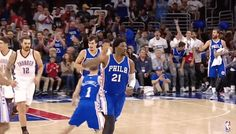 New party member! Tags: basketball nba 76ers philadelphia 76ers joel embiid embiid three guns three gun