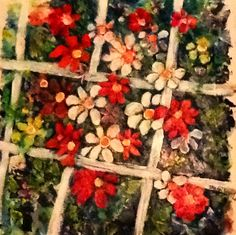 Trellis of Flowers  Acrylic on Canvas  Artwork by Artist Sharon Wood  For Sale POA swoody@adam.com.au