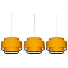 "1stdibs.com | Three Yellow ""Juno"" Ceiling Lights by Jo Hammerborg for Fog & Morup Denmark 1969"