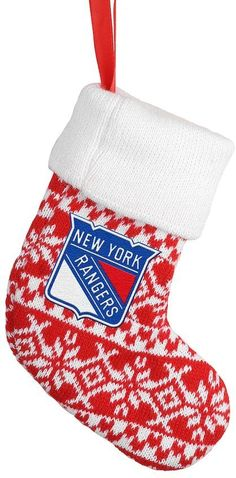 Forever Collectibles New York Rangers Knit Stocking Christmas Ornament