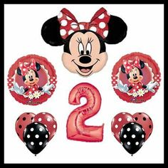 Mad About Minnie Mouse Balloon Set - Red Polka Dot 2nd Birthday Disney Party