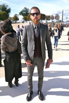 Justin O'shea style, Paris!  Grey x Burgundy x Black