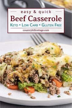 This easy low carb keto ground casserole recipe with cauliflower and stir fry broccoli is a quick dinner idea for families dish and great for weeknight meals and midweek dishes. Easy Ground Beef Casseroles, Ground Beef Recipes For Dinner, Easy Dinner Recipes, Dinner Ideas, Easy Recipes, Healthy Casserole Recipes, Keto Casserole, Main Dishes, Cheeseburger Casserole