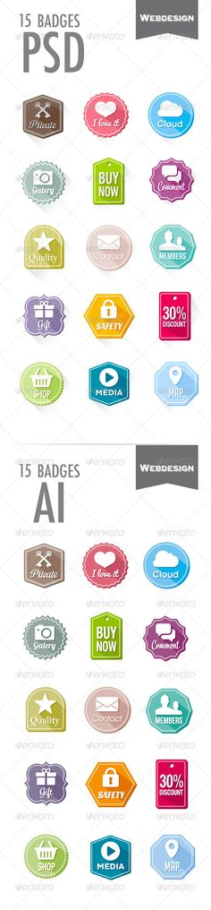 15 Badges — Photoshop PSD #web #app • Available here → https://graphicriver.net/item/15-badges/6272269?ref=pxcr