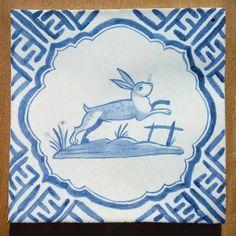 Paul Bommer: 'Leaping Hare' handmade and handpainted ceramic tile