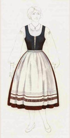 Some examples of dirndls from Vienna and environs.Un dirndl è un abito corpetto, costituito da una gonna ampia, un grembiule colorato, un corpetto e una breve o lunga camicia bianca o scacchi maniche.