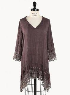 Trendy Plus Size Bohemian Clothing - High/Low V-Neck Tunic by fashionstylehunter :: fashion looks