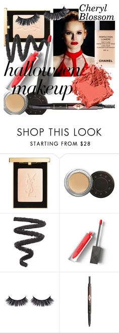 """""""Halloween Makeup: Riverdale's Cheryl Blossom"""" by isabellaaliyah ❤ liked on Polyvore featuring beauty, Lumière, Yves Saint Laurent, Becca, Burberry, Battington and Bobbi Brown Cosmetics"""