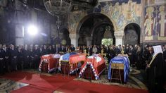 The state funeral in Topola, Serbia where King Peter II, his wife Queen Alexandra, mother Queen Marie, and brother Prince Andrej, were reburied in the Royal Family Mausoleum at St. George's Church on Hill Oplenac on 26 May 2013.