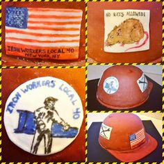 Ironworker party, Hard Hat Cake, Confection Connection, Union Iron workers, Local 40 NYC, No Rats Allowed, Decorated Cake, Fondant, Custom Cakes