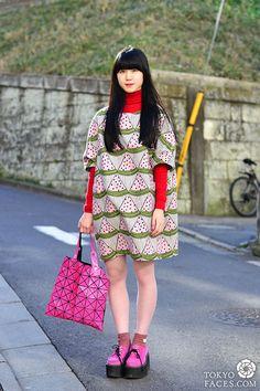 Japanese girl street fashion issey miyake bag